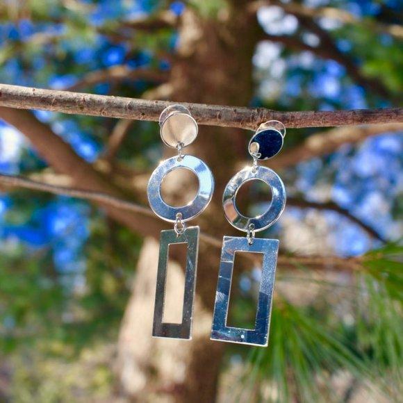 S925 Silver Geometric Long Drop Dangle earrings